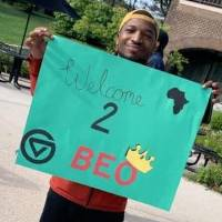 Black Excellence Orientation 2019 students holding signs 6
